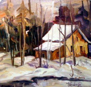 Journée d'hiver à Tremblant 30 x 30 VENDU